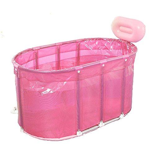 Sauna Baignoire à double usage XL Baignoire pliante Seau de bain Baignoire adulte Baignoire de soutien en acier inoxydable (Couleur : Pink)