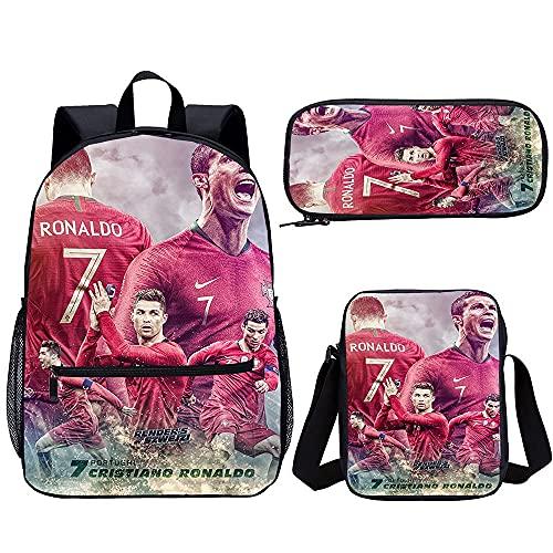 Mochila para adultos Cristiano Ronaldo de tres piezas para niños y niñas, mochila escolar (45 x 30 x 15 cm) 3D impresa mochila