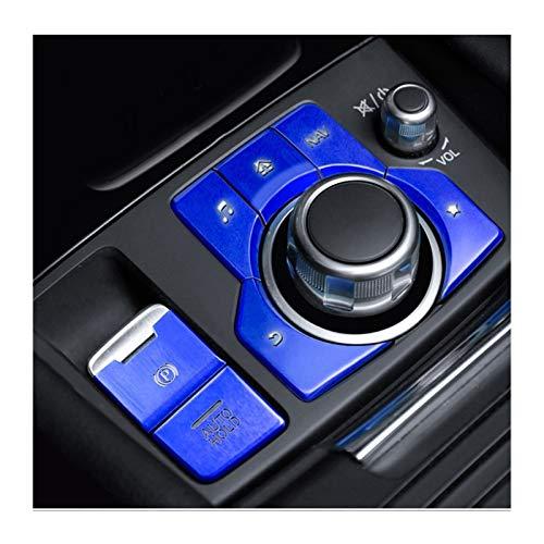para Mazda Axela 3 CX-4 CX-5 LHD Car Styling Freno De Mano del Freno De Estacionamiento Bloqueo AUTOMÁTICO Y Botón De Ajuste Cubierta De La Etiqueta Engomada Multimedia (Color : 7pcs Azules)