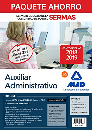 Paquete Ahorro Auxiliar Administrativo Servicio de Salud de la Comunidad de Madrid.Ahorro de 89 € (incluye Temarios 1, 2 y 3; Test; Simulacros de Examen y acceso a Campus Oro)