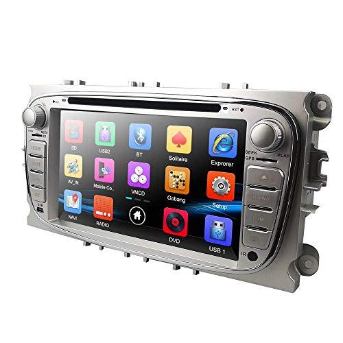 Radio de coche Radio de coche en tablero Unidad principal para Ford Focus Mondeo S-Max C-Max Galaxy Soporte Pantalla de navegación GPS Espejo Control del volante Reproductor de DVD Cámara de visión