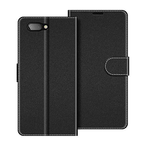 COODIO Handyhülle für BlackBerry Key2 Handy Hülle, BlackBerry Key2 Hülle Leder Handytasche für BlackBerry Key2 Klapphülle Tasche, Schwarz