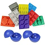 Owfvlazi Silicone Molds Set Nonstick Star Wars Shape Ice Cube Tray Chocolate Candy Moulds Kit Stormtrooper Darth Vader X-Wing Fighter Millennium Falcon R2-D2, Han Solo Boba Fett De,Yoda,death star 2