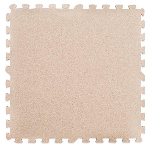 Tapis en mousse assemblables effet tapis - Parfait pour la protection des sols, le garage, l'exercice, le yoga, la salle de jeux. Mousse Eva (9 tuiles, crème)