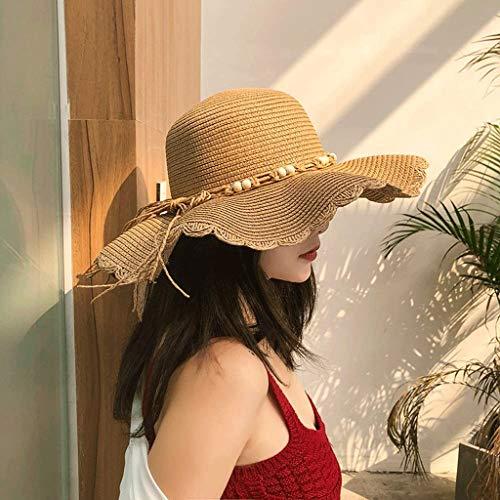 YWSZJ Verano Sun Beach Sombrero de Paja Plegable de ala Ancha Ajustable Pequeño Casquillo de Paja Fresco Versión Coreana del Visor Salvaje Vacaciones Sombreros Grandes Verano