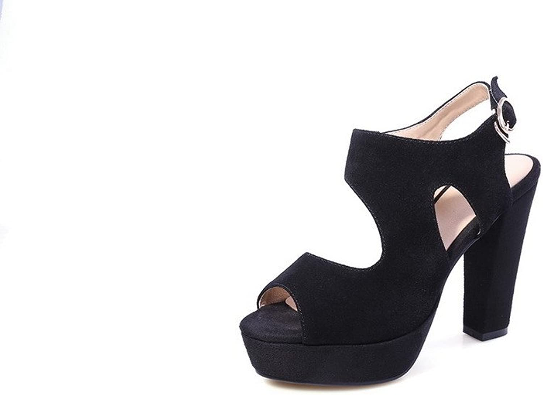 AmoonyFashion Women's Solid Cow Skull Patch High Heels Peep Toe Buckle Sandals