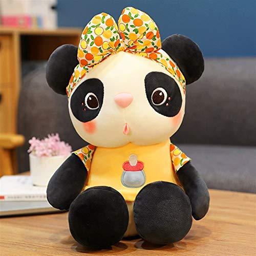 HOUMEL Cute Stuffed Plush panda Toy Mini Comfort Plush white and black bear Pillow Doll small Cushion for Chrismas Birthday Gift Bedroom Living Room 297 (Color : Yellow, Size : 55cm)