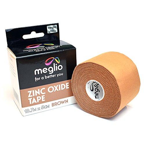 Meglio Cinta de óxido de zinc, 9,1m x 3,8cm / 13,7m x 5cm– Color café claro y blanco