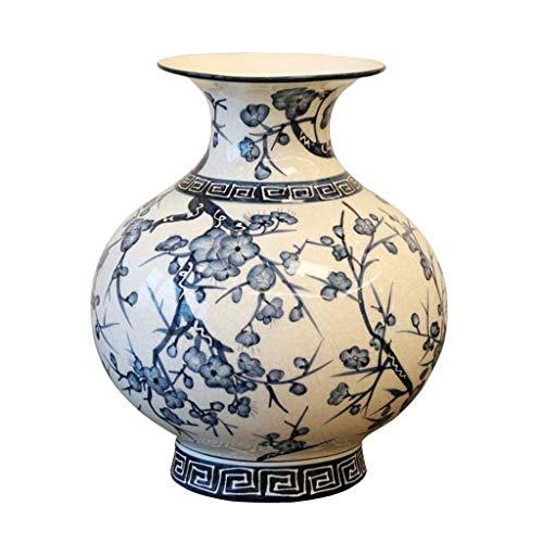 Grote buik keramische bloem vaas pot Europese retro blikjes voor droge bloemen kunstbloemen, ornamenten voor woonkamer vensterbank huis accessoires, blauw en wit 29cm