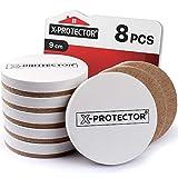 X-PROTECTOR - Deslizadores de muebles redondos para suelos de madera dura (8 unidades, para muebles, para superficies duras, 9 cm), color blanco