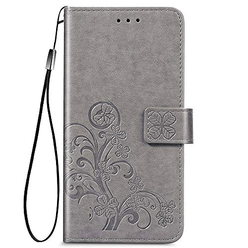 ALAMO Vier Klee Hülle für Xiaomi Poco X3 Pro, Premium PU Leder Handyhülle mit Kartensteckplätze - Grau