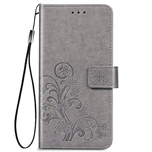 ALAMO Funda de Trébol para el Samsung Galaxy A32 4G (Not for 5G Edition), Prima Carcasa de PU Piel con Ranuras para Tarjetas - Gris