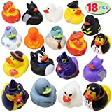 JOYIN 18 Pieces Halloween Fancy Novelty Assorted Rubber Ducks Variety for Fun Bath Squirt Squeaker Duckies , Toy, School Classroom Prizes Ducky, Trick or Treat Fillers and Party Favors.