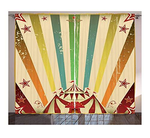 WKJHDFGB Wärmeisolierte Blackout Vorhang Vintage Regenbogen Fenster Vorhänge Alten Zirkus Karneval Werbung Thema Streifen Sterne Und Fun Fair Zelt Wohnzimmer Schlafzimmer 245X280Cm