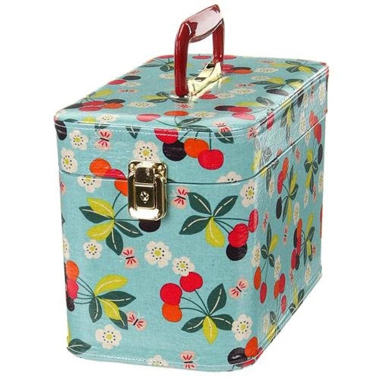 強調ちょっと待ってピカソ日本製 メイクボックス (コスメボックス)桜桃柄 30cm マリンブルー トレンケース(鍵付き/コスメボックス)