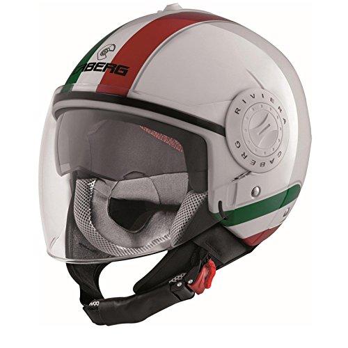 Caberg Casco Jet Riviera V3Italia, Nero/Bianco/Rosso, Taglia M