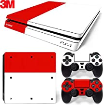 ZOOMHITSKINS PS4 Slim Skin Decal Sticker Red & White Custom Design + 2 Controller Skins Set