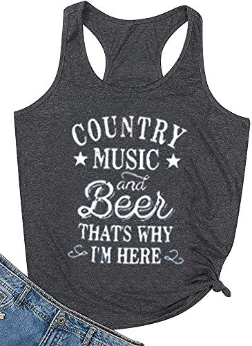 Jorlyen Women Athletic Tank Funny Graphic Country Music That's Why I'm Here Tank Girls Concert Cute Racerback Vest Casual Beach Sleeveless Shirt, Charcoal Grey S