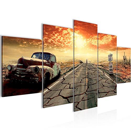 Bilder Auto Route 66 Wandbild 200 x 100 cm Vlies - Leinwand Bild XXL Format Wandbilder Wohnzimmer Wohnung Deko Kunstdrucke Orang 5 Teilig - MADE IN GERMANY - Fertig zum Aufhängen 600351a