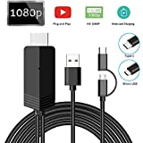 2-in-1 USB Type C/Micro USB to HDMI Cable 6.6ft, Weton MHL to HDMI Adapter 1080P HD HDTV Mirroring &Charging Cable, Digital AV Video Adapter for All Android Smartphones to TV/Projector/Monitor