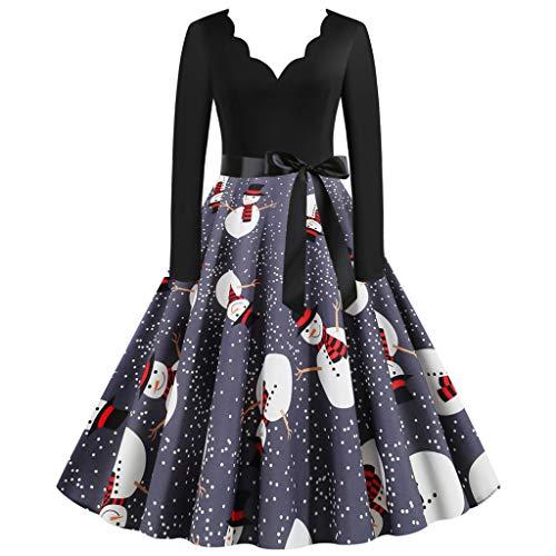 VJGOAL Damesjurk, elegant, grote maten, vintage 1950s, vrolijke kerstprint, V-hals met lange mouwen, feestjurk voor dames