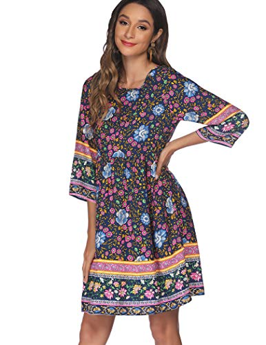 SoTeer Women Dresses Cute Spring Boho Fall Casual 3/4 Sleeve Elegant Floral Printed Hawaiian Flowy Mini Short Skirt Dresses for Women Party
