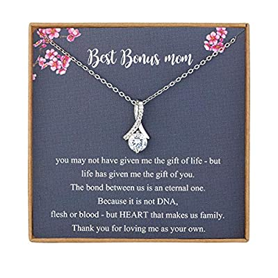 NOREGRET Bonus Mom Gifts from Daughter, Stepmother Mother in Law Gifts, 925 Sterling Silver Necklace, Gifts for Stepmom, Bonus Mom Necklace, Mother in Law Gifts, Adoption Gifts