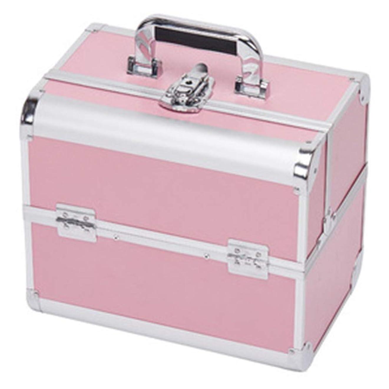 文字通り呼び出すつかむ[テンカ] メイクボックス 収納ボックス ピンク コスメボックス スライドトレイ 化粧箱 収納ケース 化粧品?化粧道具入れ 自宅?出張?旅行?アウトドア撮影 プロ用 大容量 多機能