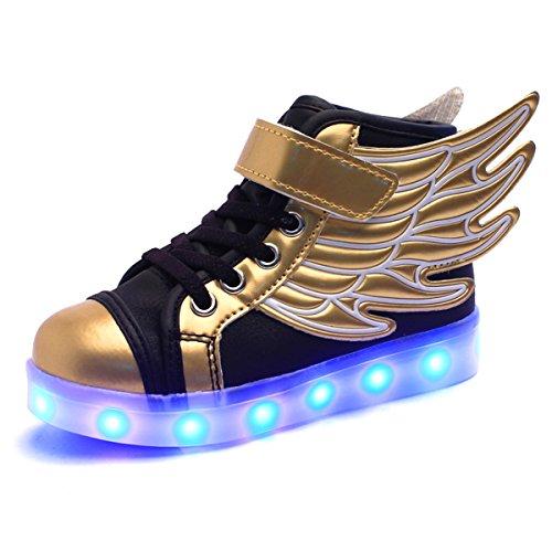 DoGeek Scarpe LED Bambino Scarpe con Luci Luminosi Sneakers con Luce nella Suola Bright Tennis Scarpe Ali USB 7 Colori Lampeggiante Trainners (32 EU, Oro)