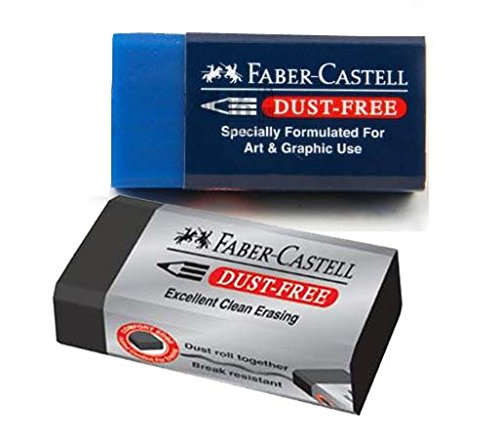 2 Combination of Faber-Castell Pencil Erasers, DUST FREE (Excellent clean erasing and Specially Formulated for Art & Graphic Use)