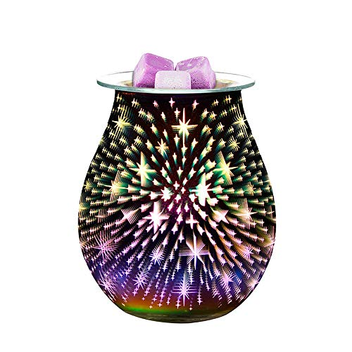 DONGKIKI Electric Aroma Wax Melter, 3D Aromatherapy Lamp Starburst Fireworks Glass Candle Warmer Wax Burner Melt Night Light for Home Office