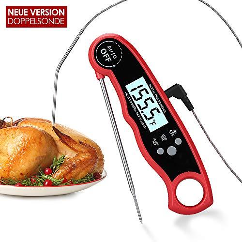kinkaivy Küchenthermometer Digital Fleischthermometer, Instant Read Grillthermometer mit 2 Edelstahlsonden & Langem Draht, Bratenthermometer Haushaltsthermometer zum Kochen von Lebensmittel und BBQ