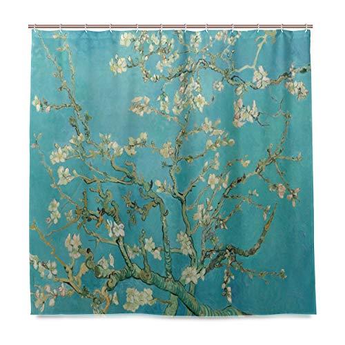 Emoya Duschvorhang Van Gogh blühender Mandelbaum wasserfest schimmelresistent Badezimmer Vorhang waschbar Polyester Stoff Badevorhang mit 12 Haken 180 x 180 cm