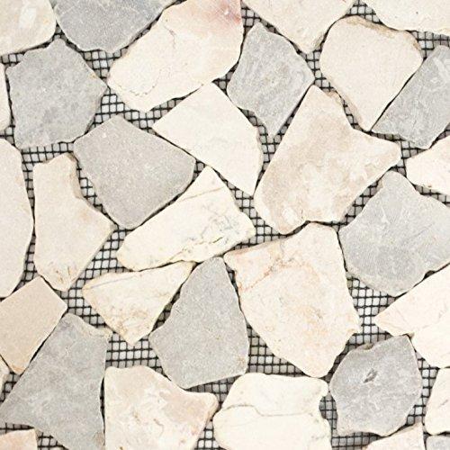 Mosaik Fliese Marmor Naturstein grau beige Bruch Ciot Grau Botticino für BODEN WAND BAD WC DUSCHE KÜCHE FLIESENSPIEGEL THEKENVERKLEIDUNG BADEWANNENVERKLEIDUNG Mosaikmatte Mosaikplatte