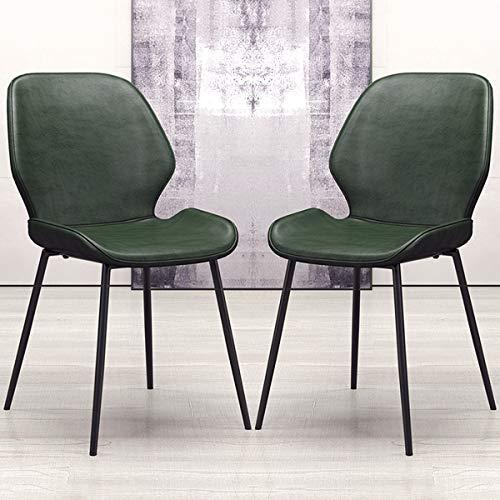 YAWEDA Sillas de Comedor Dining Chairs Sillas Tapizadas Paquete de 2 Sillas Cocina Nórdicas Cuero Sintético Sillas Bar Metal Silla de Oficina (Color : Dark Green)