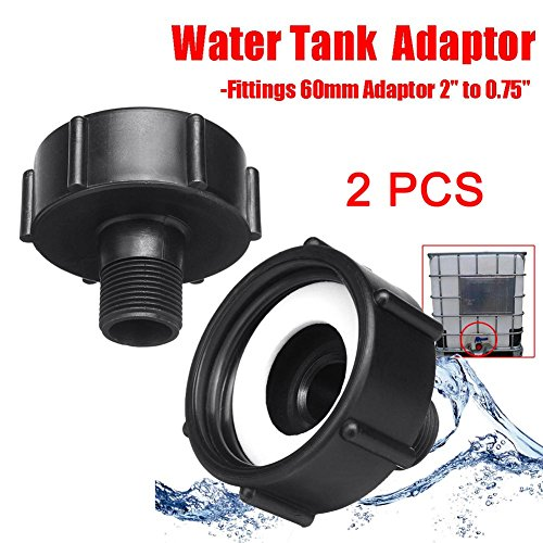 Proglam Adaptador de Manguera de jardín para Tanque de Agua IBC de 1000 L, Adaptador de 60 mm, 2 Unidades