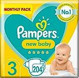 Pampers - Pannolini per neonati, taglia 3, 204 pezzi, protezione per pelli sensibili (6-10 kg)