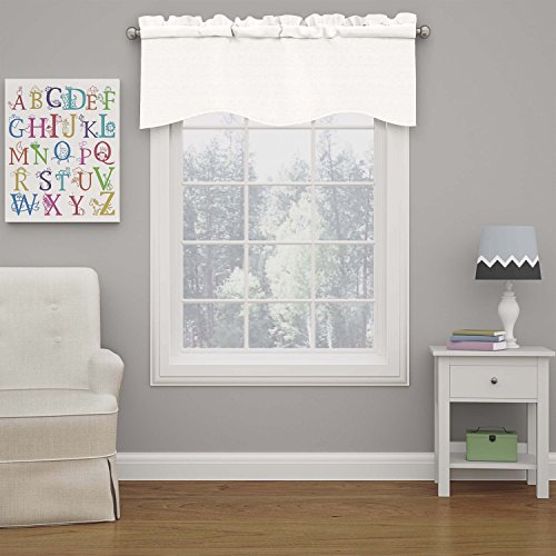 """ECLIPSE Kendall Solid Scalloped Window Valance Curtains, 42"""" x 18"""", White"""