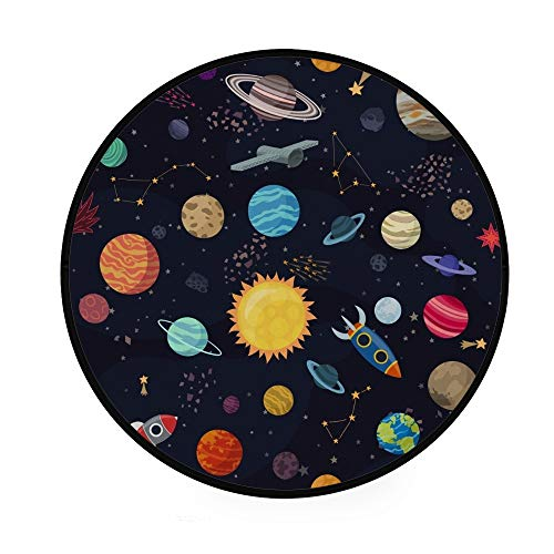 Orediy 92 cm Round Foam Soft Rugs Carton Space Planets Lightweight Kids Nursery Playing Rug Floor Yoga Mat for Living Room Bedroom