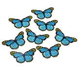 Souarts Écusson Brodé Patch Thermocollant Papillon Bleu pr DIY Denim Fabric 5PCS