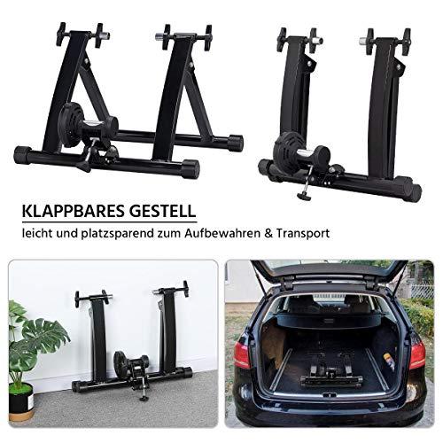 Yaheetech Stahl Rollentrainer Fahrrad Heimtrainer mit Magnetbremse, für Fahrräder 26″ bis 28″, Fahrradfahren zu Hause bis zu 150 Kg belastbar - 6