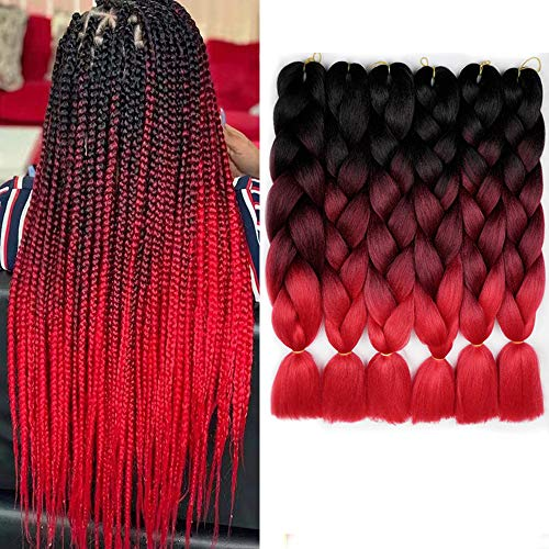 6 Packs Braiding Hair Black To Red Ombre Braiding Synthetic Hair Kanekalon Fiber Jumbo Braids Hair Extensions (Black to BUG to Red)