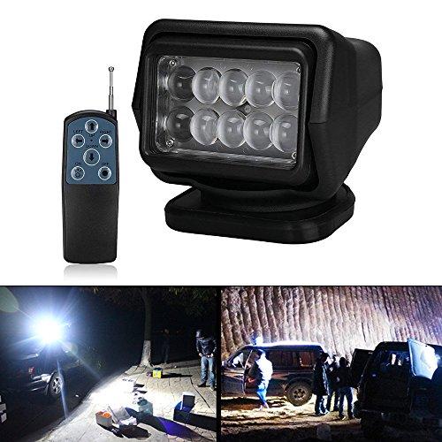 LED Suchscheinwerfer Arbeitsscheinwerfer Arbeitsleuchte mit Magnetfuß - CREE Chip Funkfernsteuerbar Wetterfest 360 Grad Drehbar für Offroad Jagd Boot Garden 50 W DC 12V