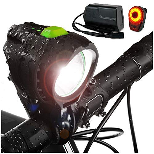 BRIGHT EYES 1800 Lumen Bicycle Light Set - The Stamina - Super Bright Headlight w/Quad Cree Technology and Light Weight Military Grade Nylon Shell - Free USB Rechargeable Taillight