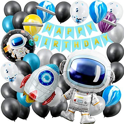 Remebe Decoraciones Cumpleaños, Decoraciones de Fiesta temáticas del Espacio Exterior, Astronauta Cohete Globos Foil y Happy Birthday Pancarta Astronauta Globos Látex, Astronaut Foil Balloon Espacial