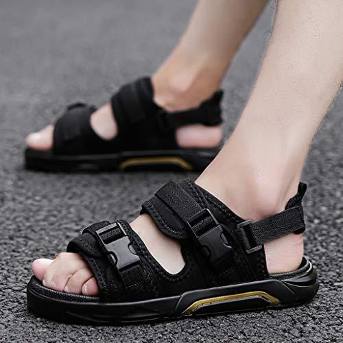 LQ Sandalias de Hombre Sandalias Exteriores para Hombres de Denim, Zapatos Antideslizantes Antideslizantes de Goma con Suela Gruesa, Zapatos de Playa de Verano Salvaje e Informal.