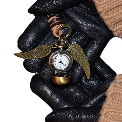 WMA Llavero Reloj Dorado Snitch Colgante Llavero Bohemia Estilo Vintage Ángel ala Encanto Llavero para Hombres Mujeres-Predeterminado