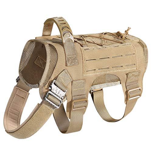 HuntvpTaktische Hundeweste 1000D Molle Verstellbar Hundegeschirr mit Tragegriff für Mittlere Große Hunde Jagd MilitaryTraining Wandern Outdoor, Braun L