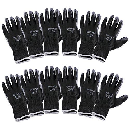 Incutex 12 pares guantes de trabajo guantes de montaje guantes mecánico guantes de construcción con revestimiento en nitrilo, talla 8 M