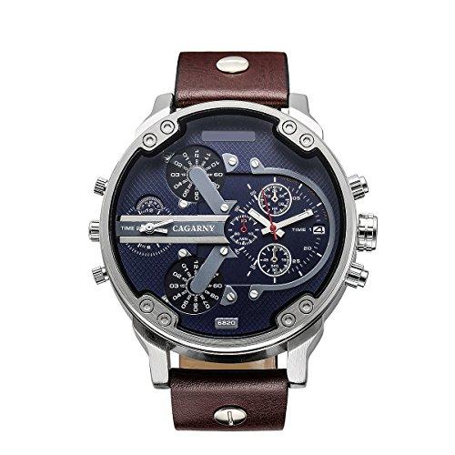 FENKOO Männer Quarzuhr Mode runden Zifferblatt Zwei Zeitzonen analoge Armbanduhr mit Kunstlederband sortierten Farben